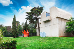 Barcelona, SPAIN - April 22, 2016: Fundacio Foundation Joan Miro museum of modern art Stock Images