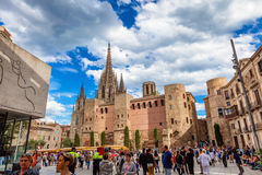 Barcelona, Spain - 17 April, 2016: Grand Royal Palace in the King Square Stock Image