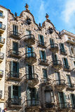 Barcelona, Spain - April 18, 2016: House facade Casa Calvet, designed by Antonio Gaudi. Part of the UNESCO World Heritage Site Works of Antonio Gaudi stock photography