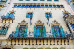 Barcelona, Spain - APRIL 18, 2016: Illa de la Discordia. Facade Casa Amatller is a building in the Modernisme style in Barcelona Royalty Free Stock Images