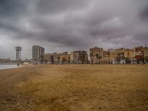 Barcelona, Spain - april 11, 2018:image of the beach of Barcelona. And its neighborhoods a stormy day Royalty Free Stock Image
