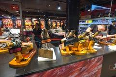 BARCELONA, SPAIN - APRIL 28: Jamon Experience Museum in Barcelona on April 28, 2016 in Barcelona, Spain Stock Photos
