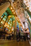 BARCELONA, SPAIN - April 25, 2018: La Sagrada Familia - decoration of impressive cathedral designed by Gaudi, which. Planed to be finished in 2026 Royalty Free Stock Photos
