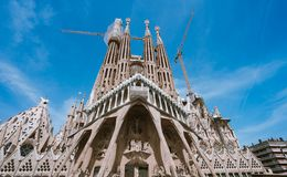 BARCELONA, SPAIN - April 25, 2018: La Sagrada Familia - the impressive cathedral designed by Gaudi, which is being build. Since 19 March 1882 and planed finally Royalty Free Stock Photo