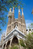 BARCELONA, SPAIN - April 25, 2018: La Sagrada Familia - the impressive cathedral designed by Gaudi, which is being build. Since 19 March 1882 and planed finally Stock Images