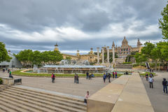 BARCELONA, SPAIN - APRIL 28:  National Museum of Catalan Art (MNAC), Montjuic Park on April 28, 2016 in Barcelona, Spain Stock Photography