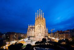 Barcelona, Spain - April 10,2018 : Night view of the Sagrada Familia, a large Roman Catholic church in Barcelona, Spain, designed stock photography
