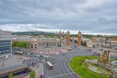 BARCELONA, SPAIN - APRIL 28:  Placa de Espanya on April 28, 2016 in Barcelona, Spain Royalty Free Stock Images