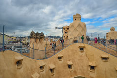 BARCELONA, SPAIN - APRIL 28:  Roof terrace of Gaudi Casa Mila or La Pedrera on April 28, 2016 in Barcelona, Spain Stock Photo