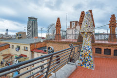 BARCELONA, SPAIN - APRIL 28:  Roof terrace of Palau Guell palace on April 28, 2016 in Barcelona, Spain Royalty Free Stock Photography