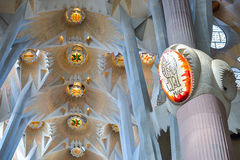 BARCELONA, SPAIN - APRIL 28:  Sagrada Familia interior - Barcelona on April 28, 2016 in Barcelona, Spain Stock Images