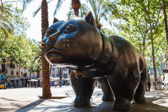 Barcelona, Spain - April 20, 2016: Sculpture of cat in the El Raval Royalty Free Stock Image