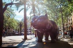 Barcelona, Spain - April 20, 2016: Sculpture of cat in the El Raval Royalty Free Stock Image