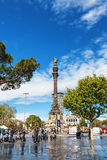 Barcelona, Spain - April 17, 2016: Statue of Christopher Columbus pointing America Stock Image