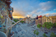 BARCELONA, SPAIN - APRIL 28: View from the Gaudi Casa Batllo on April 28, 2016 in Barcelona, Spain Royalty Free Stock Photos