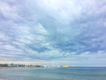 Barcelona, Spain, April 2018: View on sandy beach of Barcelona. royalty free stock photography