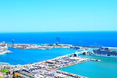 Barcelona harbour view Stock Photos