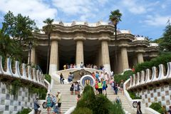 BARCELONA, SPAIN - AUG 30th, 2017: Entrance at the Park Guell designed by Antoni Gaudi with tourists at the stairs. Catalonia stock photos
