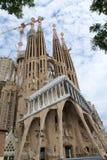 BARCELONA, SPAIN - AUG 30th, 2017: View of main facade of Sagrada Familia Holy Family church designed by Spanish Stock Photos