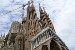 BARCELONA, SPAIN - AUG 30th, 2017: View of main facade of Sagrada Familia Holy Family church designed by Spanish Royalty Free Stock Image