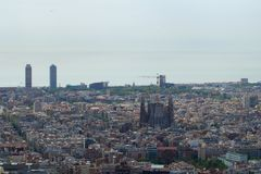 BARCELONA, SPAIN - AUG 30th, 2017: wide angle of barcelona shot from the bunkers de carmel offering amazing panoramic Royalty Free Stock Photos