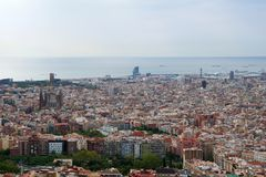 BARCELONA, SPAIN - AUG 30th, 2017: wide angle of barcelona shot from the bunkers de carmel offering amazing panoramic Royalty Free Stock Photo