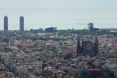 BARCELONA, SPAIN - AUG 30th, 2017: wide angle of barcelona shot from the bunkers de carmel offering amazing panoramic Royalty Free Stock Image