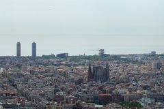BARCELONA, SPAIN - AUG 30th, 2017: wide angle of barcelona shot from the bunkers de carmel offering amazing panoramic Stock Photos