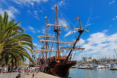 BARCELONA, SPAIN - AUGUST 07: Old frigate moored at Port Vell on Stock Photos