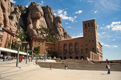 Barcelona, Spain, August 19, 2006: Benedictine abbey Santa María de Montserrat. royalty free stock images