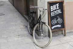 BARCELONA,SPAIN-AUGUST 8,2015: Bike rental shop in El Born quart Royalty Free Stock Photography