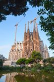 Cathedral La Sagrada Familia by Antoni Gaudi. Barcelona, Spain - August 26, 2014: Cathedral La Sagrada Familia designed by Antoni Gaudi which is being build royalty free stock image
