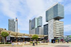 Modern skyscrapers and shopping mall plaza in Barcelona Spain royalty free stock photography