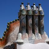 Detail of the rooftop of Casa Batllo in Barcelona stock photos