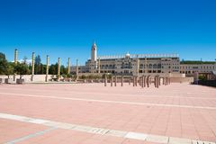 Olympic park. BARCELONA, SPAIN - AUGUST 10: The famous Olympic Park Montjuic on August 10, 2017 in Barcelona, Spain. Olympic park tower Stock Images