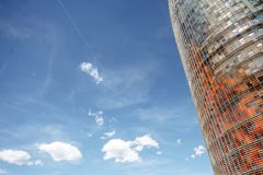 Agbar tower in Barcelona. BARCELONA, SPAIN - August 16, 2017: Fragment view on the famous Agbar tower designed by French architect Jean Nouvel in Barcelona Royalty Free Stock Images