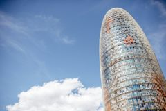 Agbar tower in Barcelona. BARCELONA, SPAIN - August 16, 2017: Fragment view on the famous Agbar tower designed by French architect Jean Nouvel in Barcelona Stock Images