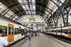 French train station in Barcelona Stock Image