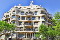 BARCELONA, SPAIN - AUGUST  28, 2008: Outdoor view  Casa Mila Royalty Free Stock Photography