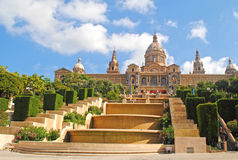 BARCELONA, SPAIN - AUGUST 12: Palau Nacional de Montjuic on Augu Stock Photo