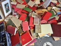 Barcelona, Spain - 21 August 2016: street sale of used vintage books on flea market Stock Photos