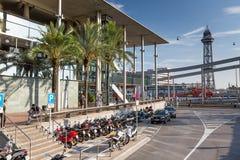 Barcelona, SPAIN- AUGUST 24 2014: Street views of Barcelona center Stock Photos