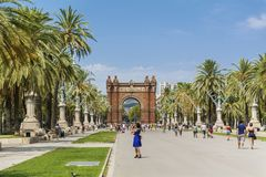 Triumph Arch in Barcelona, Spain. BARCELONA, SPAIN - AUGUST 15: Triumph Arch, Arc de Triomf in a sunny day Royalty Free Stock Photo