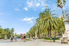 Triumph Arch in Barcelona, Spain. BARCELONA, SPAIN - AUGUST 15: Triumph Arch, Arc de Triomf in a sunny day in Spain Stock Photography