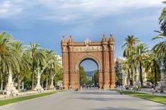Triumph Arch in Barcelona, Spain. BARCELONA, SPAIN - AUGUST 15: Triumph Arch, Arc de Triomf in a sunny day in Spain Stock Photo
