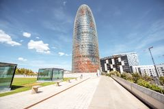 Agbar tower in Barcelona. BARCELONA, SPAIN - August 16, 2017: View on the famous Agbar office tower that was designed by French architect Jean Nouvel in Stock Photos