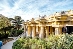 Park Guell in Barcelona. BARCELONA, SPAIN - August 17, 2017: View on the main terrace full of tourists in Guell park famous public park with gardens and Stock Photography