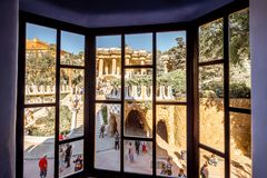 Guell park in Barcelona. BARCELONA, SPAIN - August 17, 2017: View from the window on Guell park, famous public park with gardens and architectonic elements Stock Images
