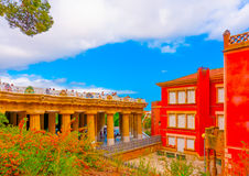 In Barcelona in Spain. Beautiful buildings at the famous park Guell in Barcelona in Spain Royalty Free Stock Image