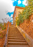 In Barcelona in Spain. Beautiful old building in the famous park Guell at Barcelona in Spain. HDR processed Royalty Free Stock Image